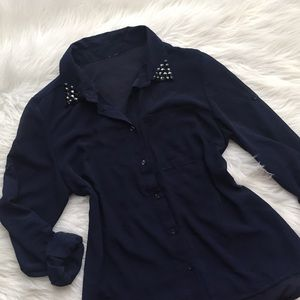 Navy Button Up Sheer Top